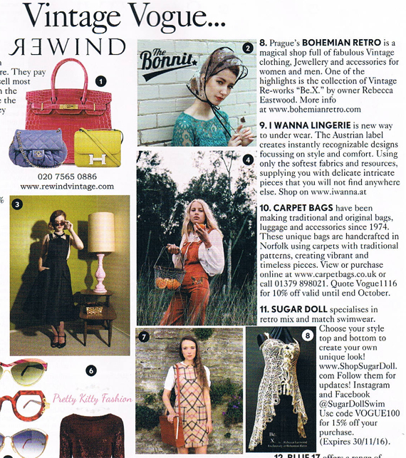 "bohemian retro vogue BOHEMIAN RETRO AND Be.X, IN UK VOGUE! NOV 2016 ! "" A magical shop"" ""One of the highlights is the Be. X . collection"""
